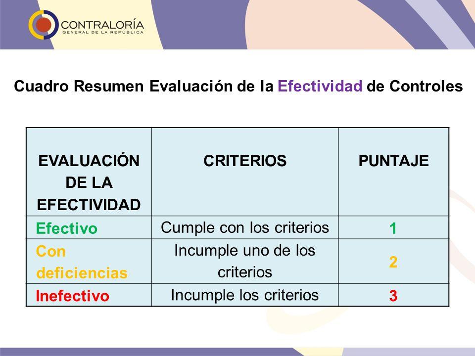 Cuadro Resumen Evaluación de la Efectividad de Controles