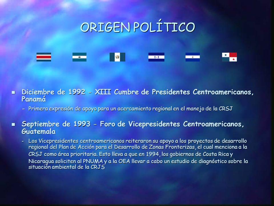 ORIGEN POLÍTICO Diciembre de 1992 - XIII Cumbre de Presidentes Centroamericanos, Panamá.