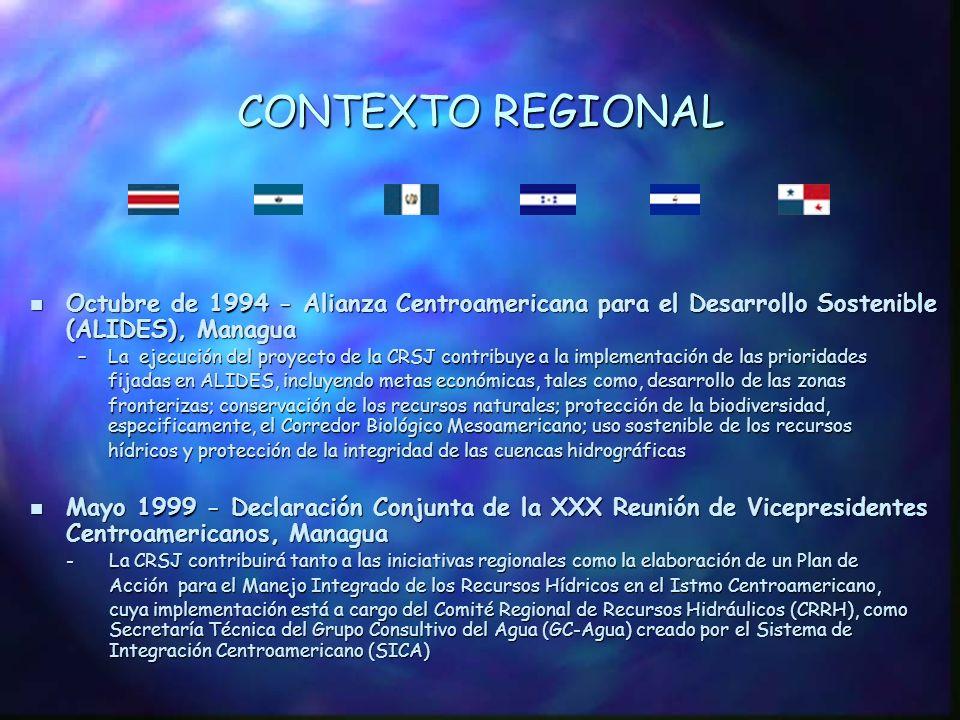 CONTEXTO REGIONAL Octubre de 1994 - Alianza Centroamericana para el Desarrollo Sostenible (ALIDES), Managua.