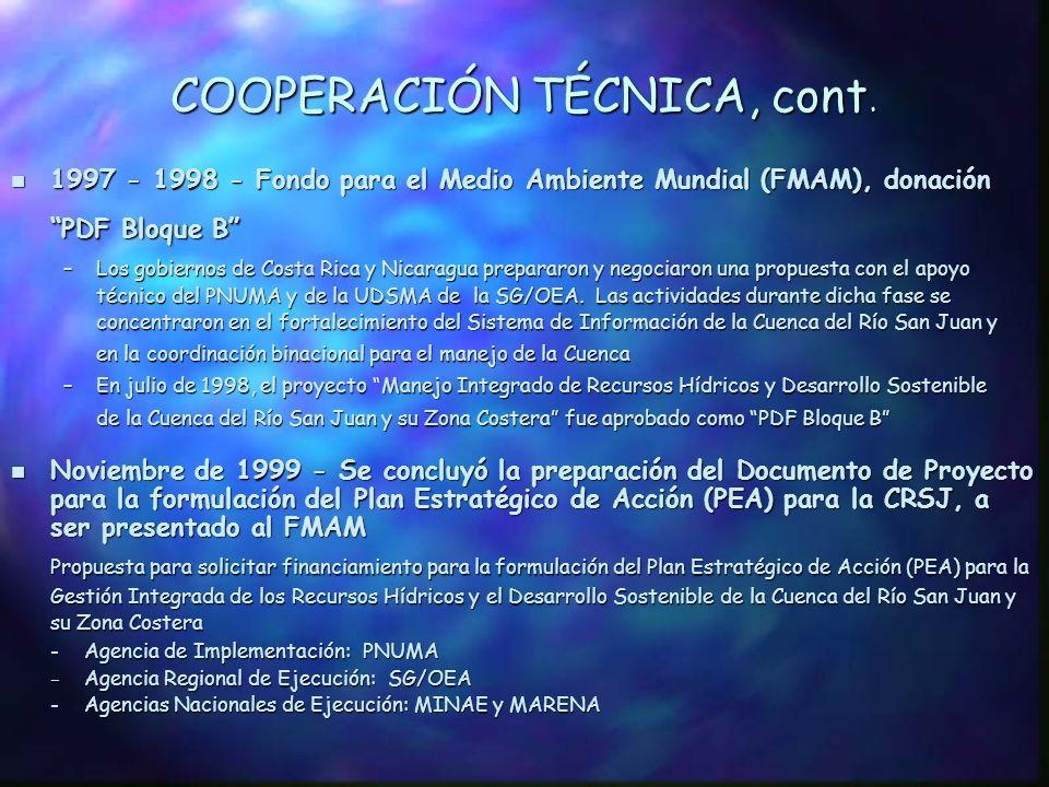 COOPERACIÓN TÉCNICA, cont.