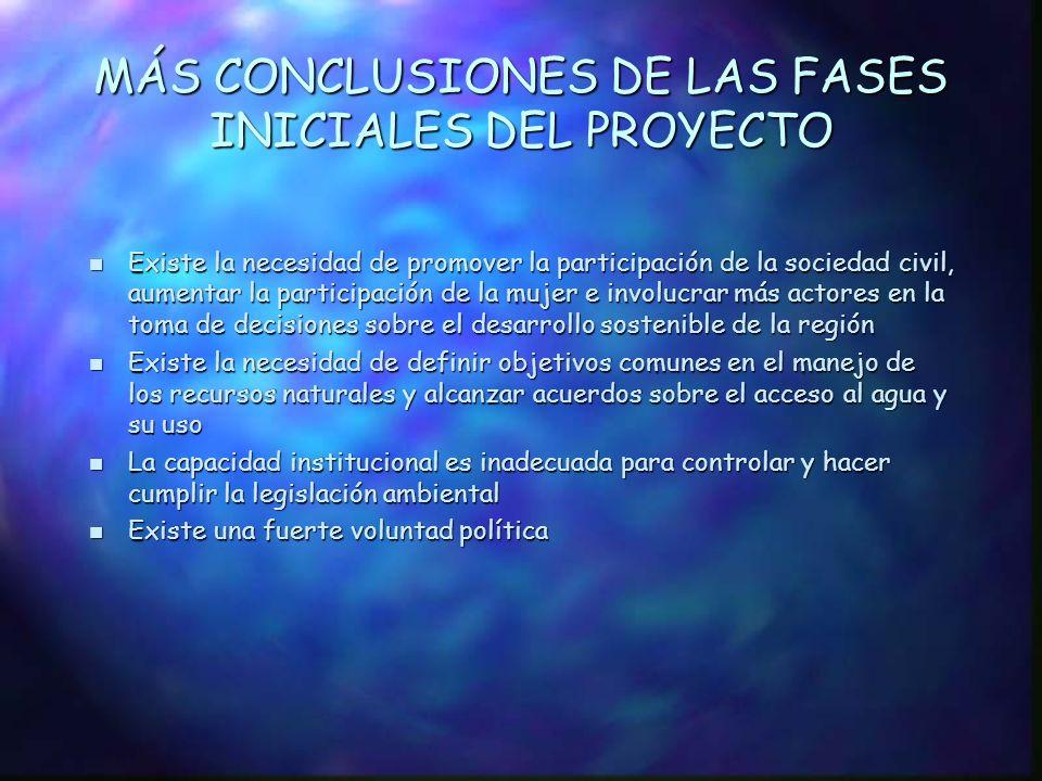 MÁS CONCLUSIONES DE LAS FASES INICIALES DEL PROYECTO