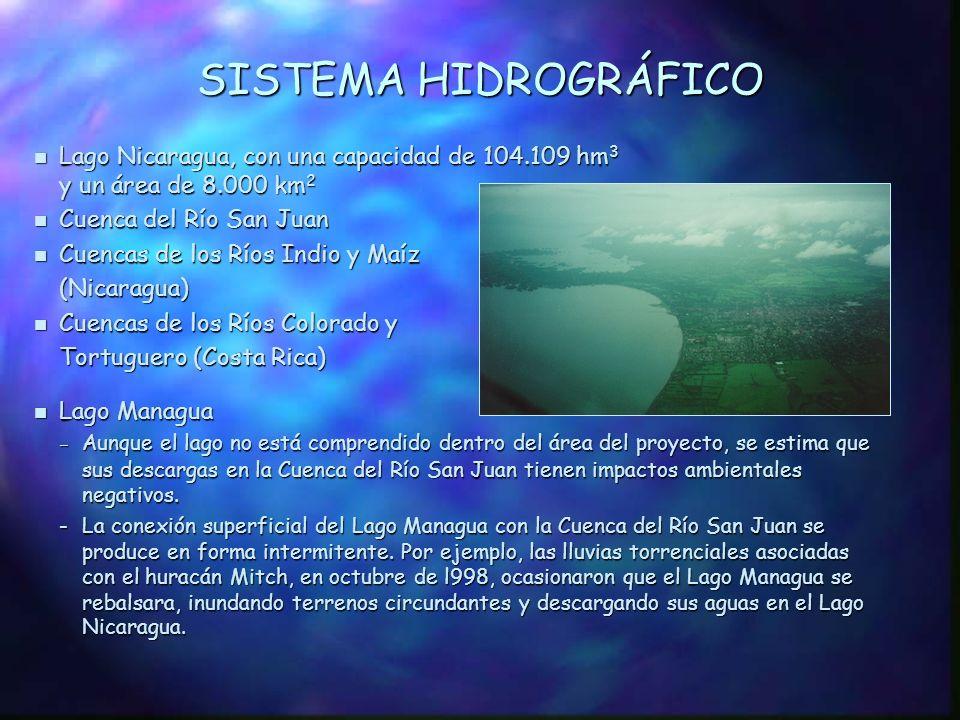 SISTEMA HIDROGRÁFICO Lago Nicaragua, con una capacidad de 104.109 hm3 y un área de 8.000 km2. Cuenca del Río San Juan.