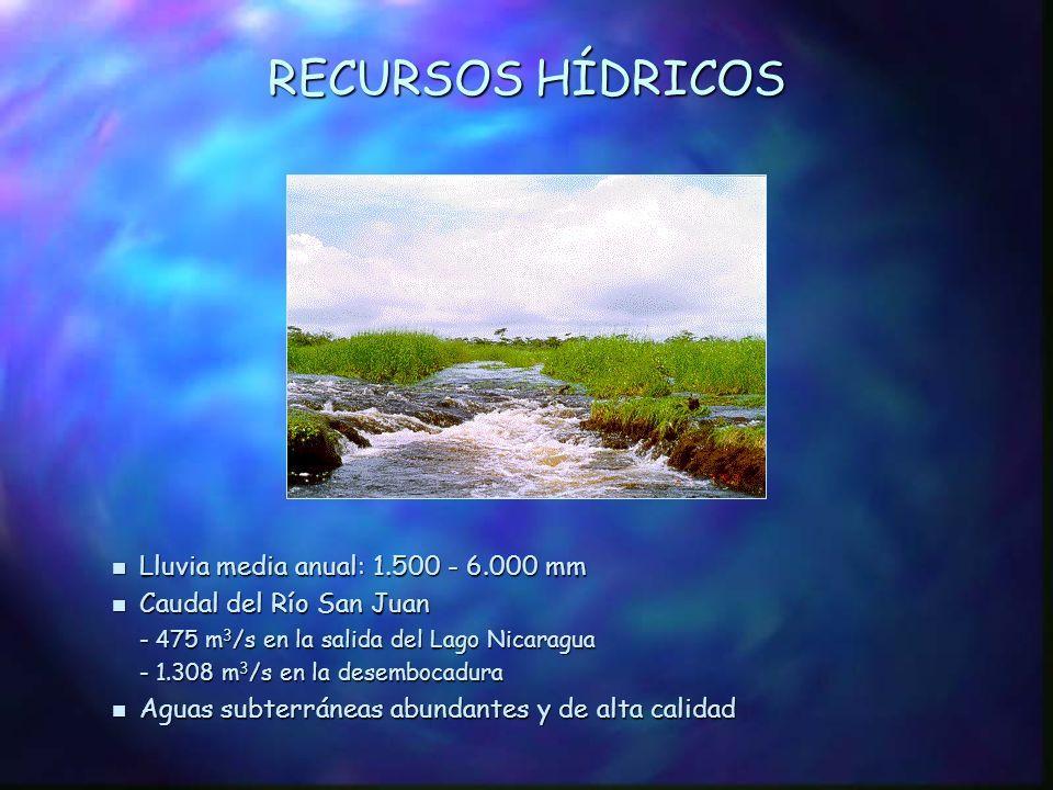RECURSOS HÍDRICOS Lluvia media anual: 1.500 - 6.000 mm