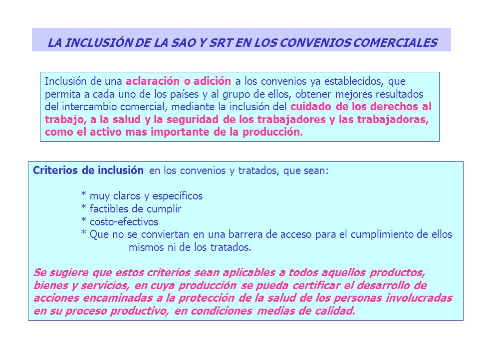 LA INCLUSIÓN DE LA SAO Y SRT EN LOS CONVENIOS COMERCIALES