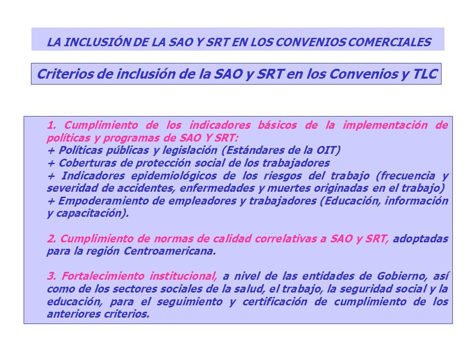 Criterios de inclusión de la SAO y SRT en los Convenios y TLC