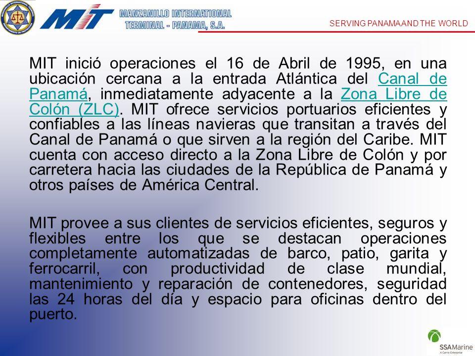 MIT inició operaciones el 16 de Abril de 1995, en una ubicación cercana a la entrada Atlántica del Canal de Panamá, inmediatamente adyacente a la Zona Libre de Colón (ZLC). MIT ofrece servicios portuarios eficientes y confiables a las líneas navieras que transitan a través del Canal de Panamá o que sirven a la región del Caribe. MIT cuenta con acceso directo a la Zona Libre de Colón y por carretera hacia las ciudades de la República de Panamá y otros países de América Central.