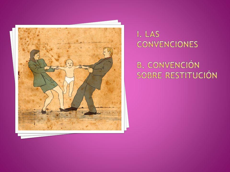 i. Las convenciones b. Convención sobre restitución