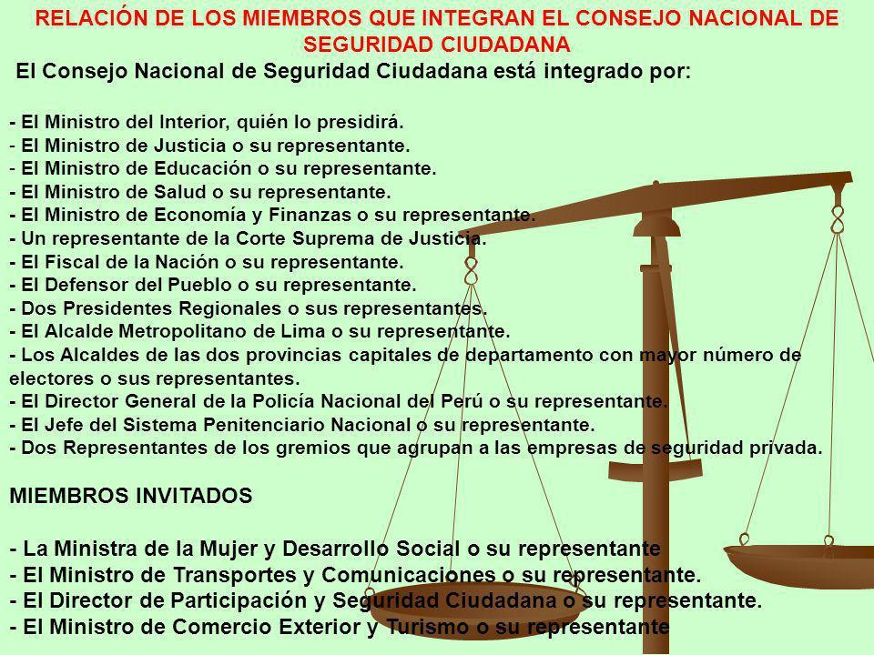 El Consejo Nacional de Seguridad Ciudadana está integrado por: