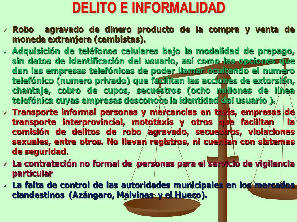 DELITO E INFORMALIDAD Robo agravado de dinero producto de la compra y venta de moneda extranjera (cambistas).