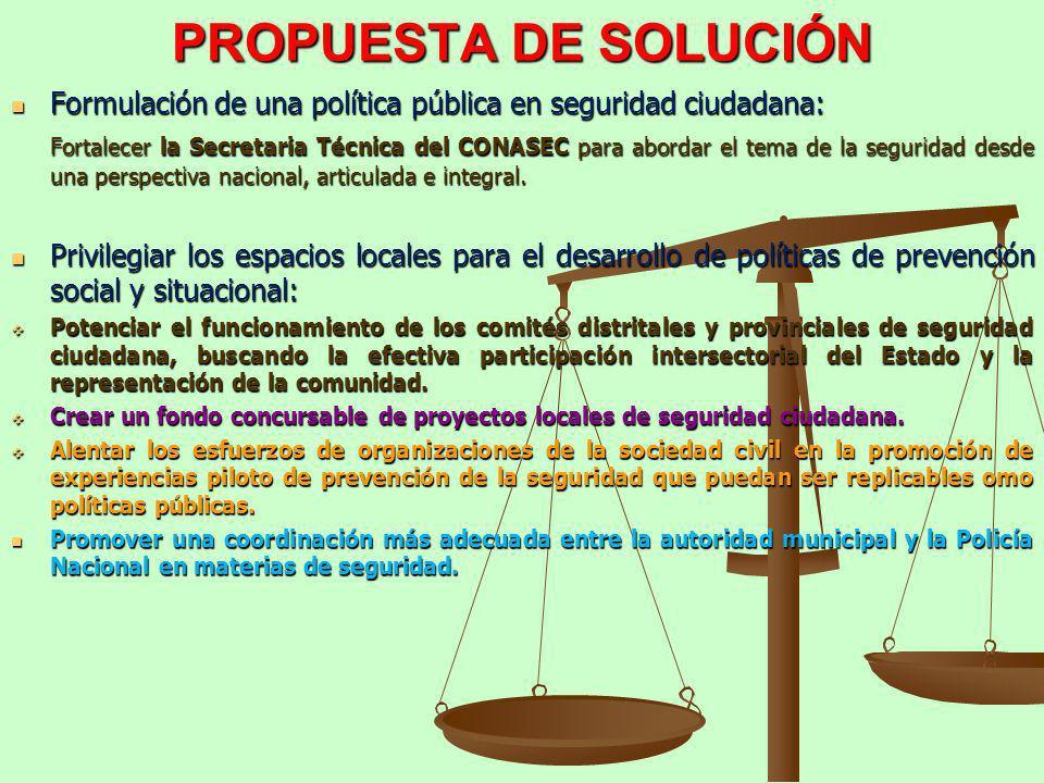 PROPUESTA DE SOLUCIÓN Formulación de una política pública en seguridad ciudadana: