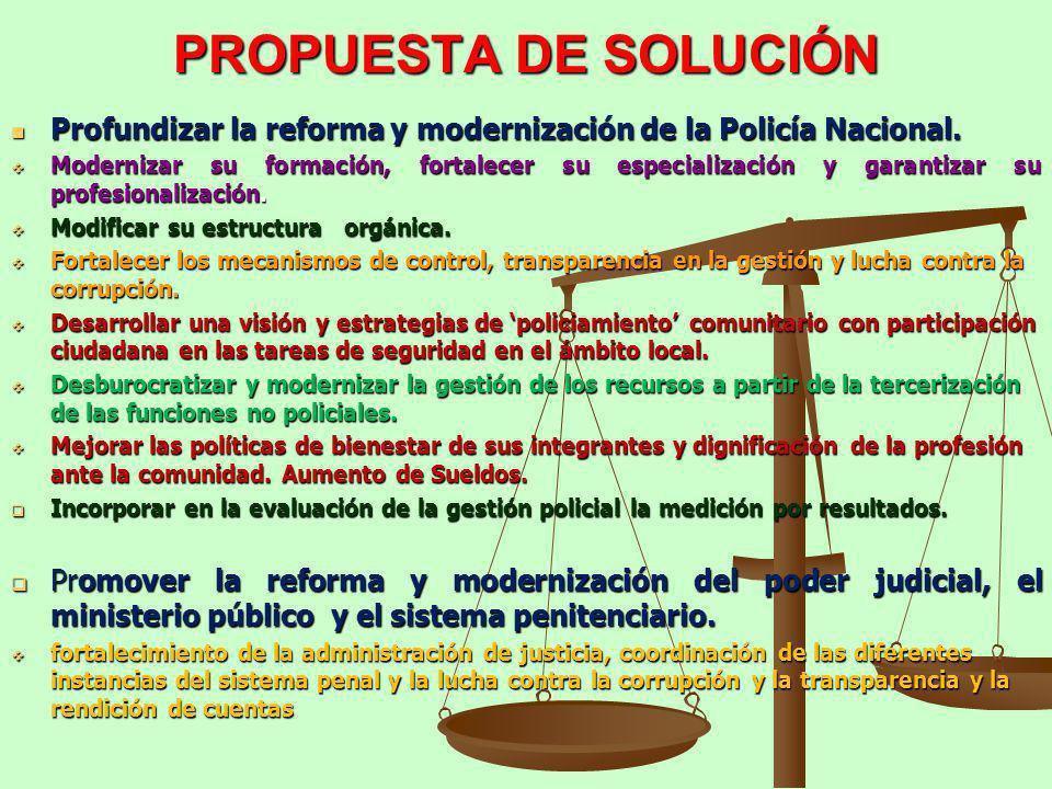 PROPUESTA DE SOLUCIÓN Profundizar la reforma y modernización de la Policía Nacional.