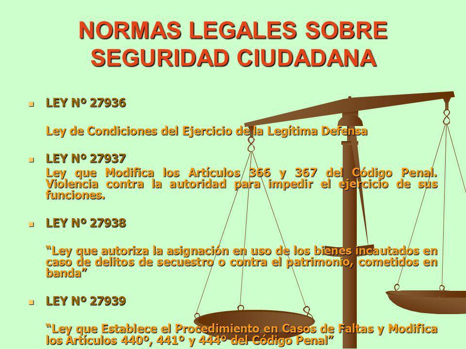 NORMAS LEGALES SOBRE SEGURIDAD CIUDADANA