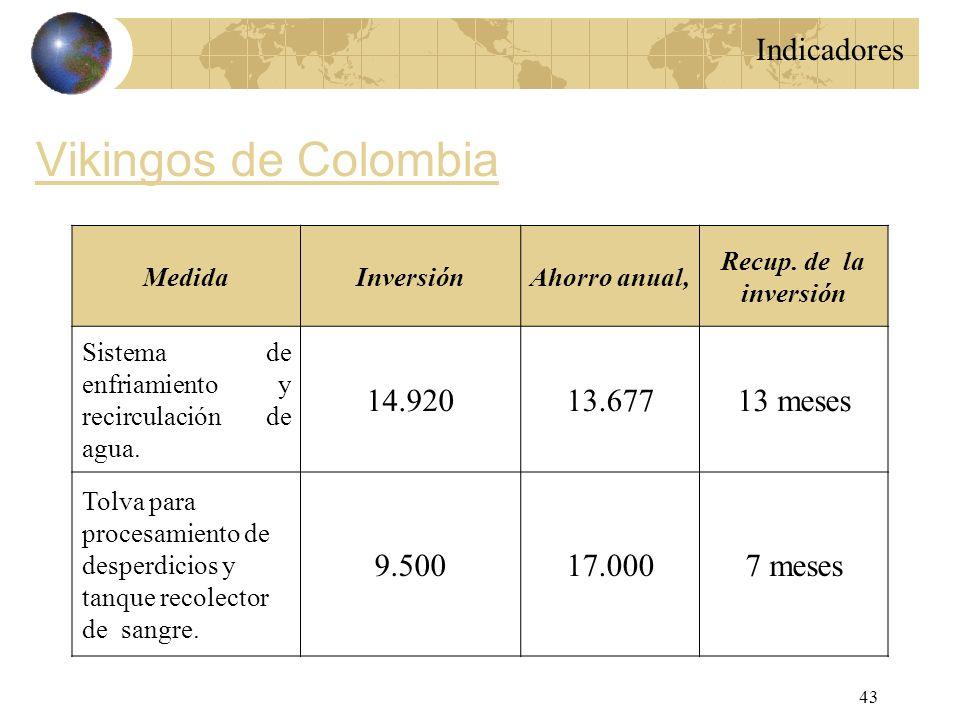 Vikingos de Colombia Indicadores 14.920 13.677 13 meses 9.500 17.000