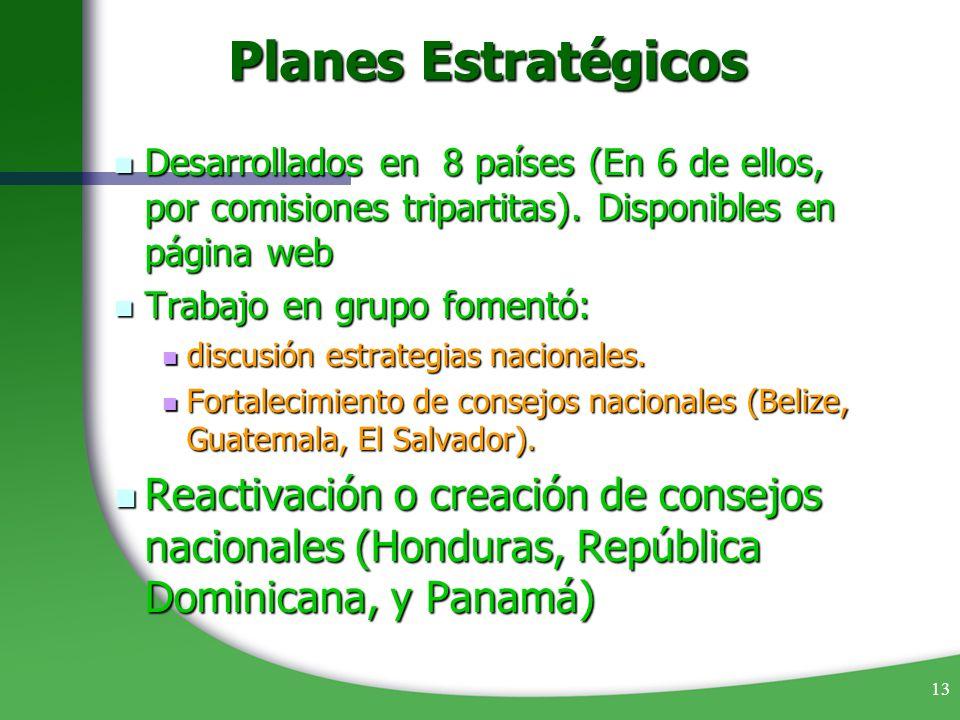 Planes Estratégicos Desarrollados en 8 países (En 6 de ellos, por comisiones tripartitas). Disponibles en página web.