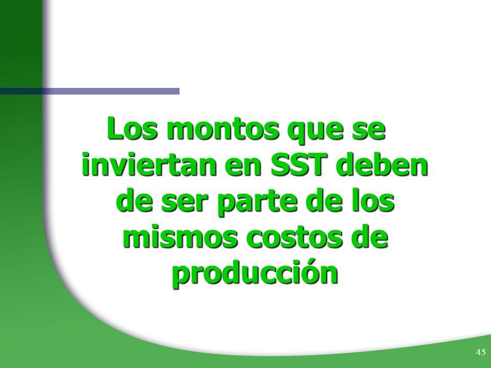 Los montos que se inviertan en SST deben de ser parte de los mismos costos de producción