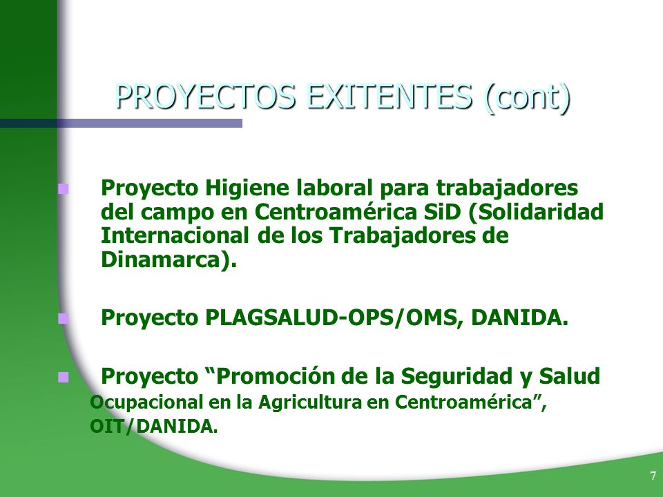 PROYECTOS EXITENTES (cont)