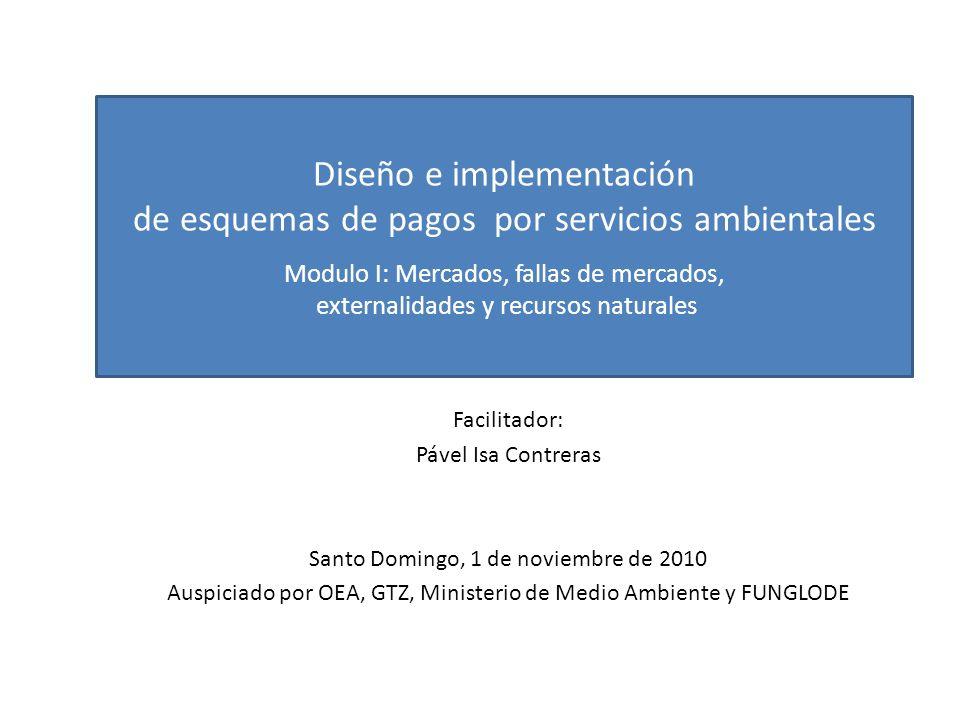 Diseño e implementación de esquemas de pagos por servicios ambientales Modulo I: Mercados, fallas de mercados, externalidades y recursos naturales