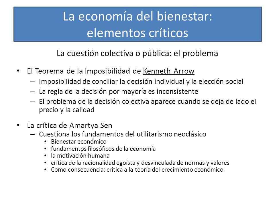 La economía del bienestar: elementos críticos