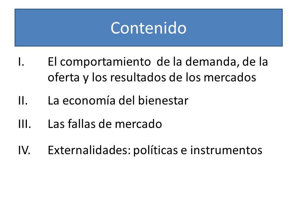 Contenido El comportamiento de la demanda, de la oferta y los resultados de los mercados. II. La economía del bienestar.
