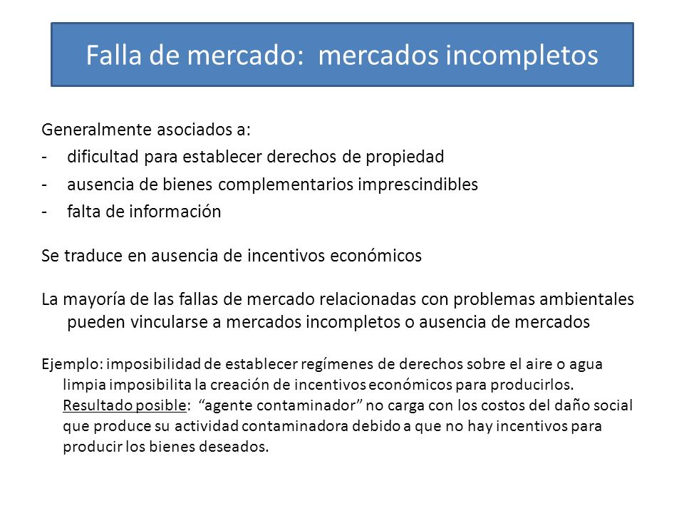 Falla de mercado: mercados incompletos