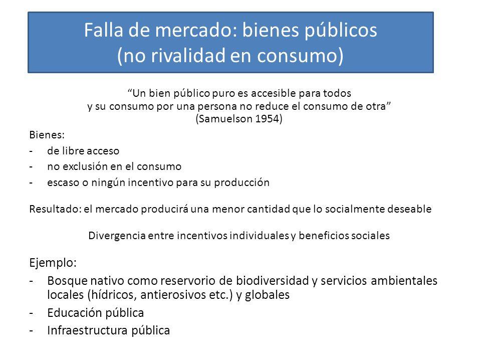 Falla de mercado: bienes públicos (no rivalidad en consumo)