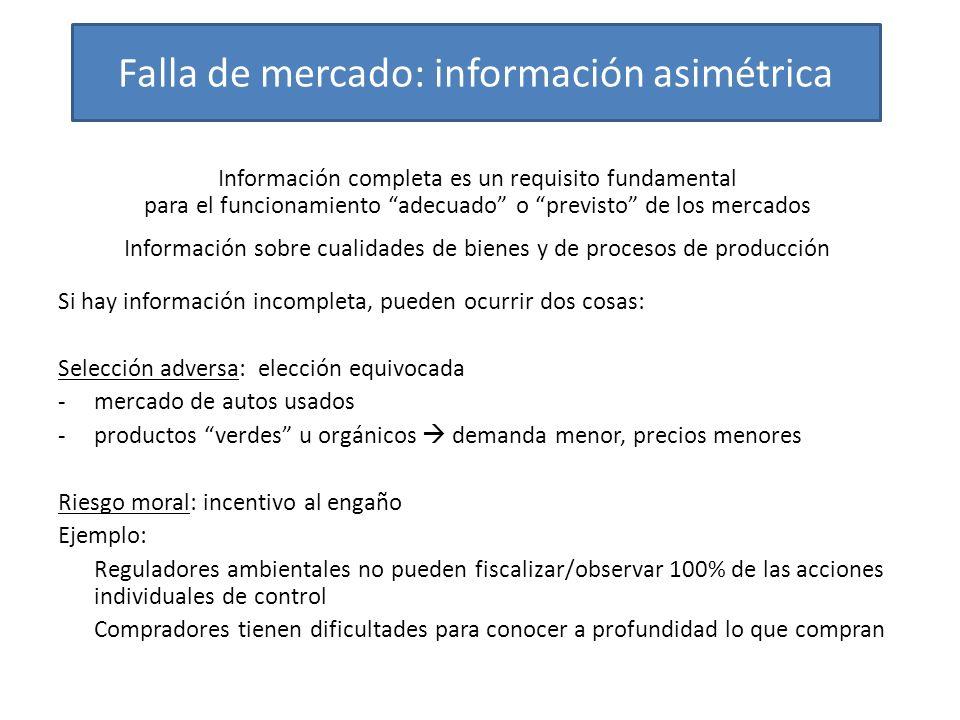 Falla de mercado: información asimétrica