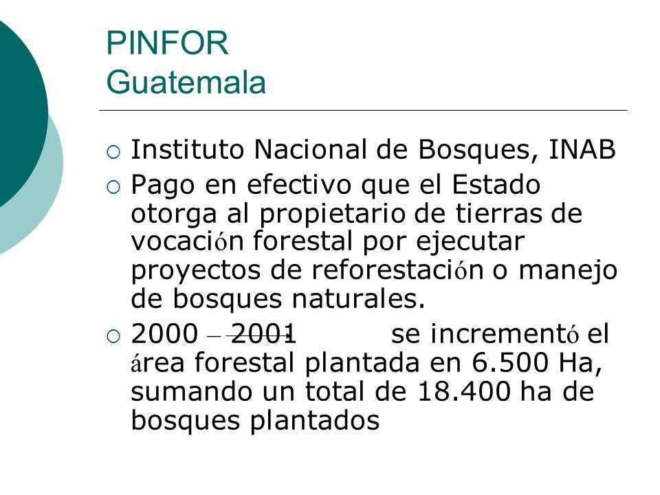 PINFOR Guatemala Instituto Nacional de Bosques, INAB