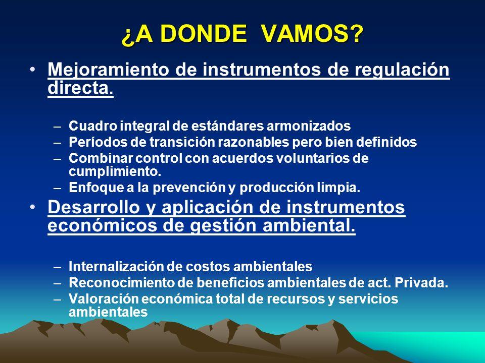 ¿A DONDE VAMOS Mejoramiento de instrumentos de regulación directa.