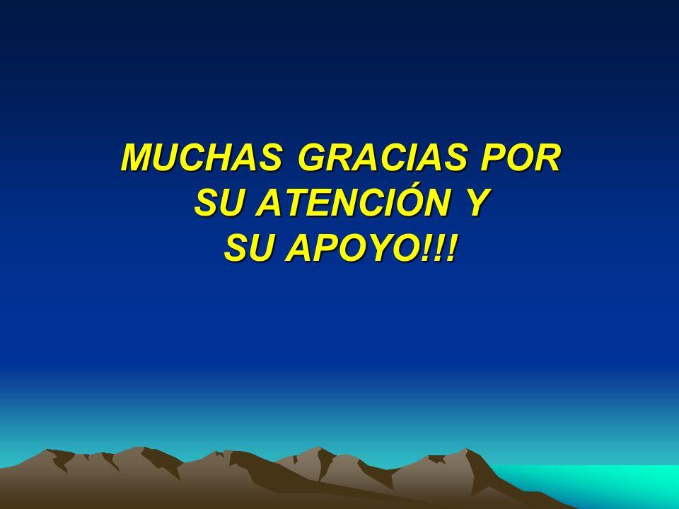 MUCHAS GRACIAS POR SU ATENCIÓN Y SU APOYO!!!