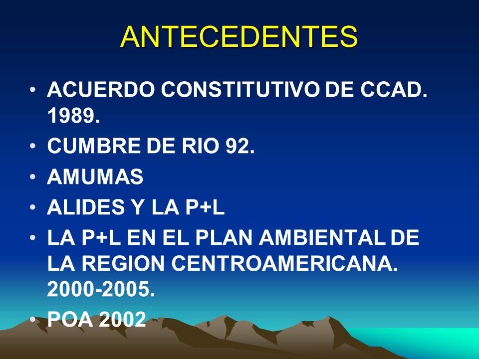 ANTECEDENTES ACUERDO CONSTITUTIVO DE CCAD. 1989. CUMBRE DE RIO 92.