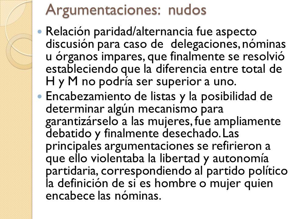 Argumentaciones: nudos