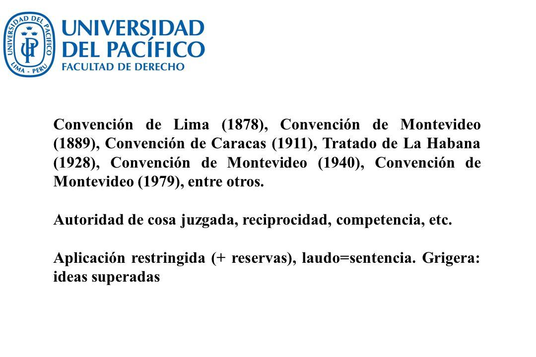 Convención de Lima (1878), Convención de Montevideo (1889), Convención de Caracas (1911), Tratado de La Habana (1928), Convención de Montevideo (1940), Convención de Montevideo (1979), entre otros.