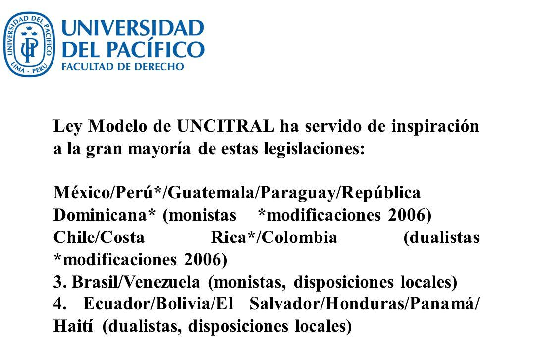 Ley Modelo de UNCITRAL ha servido de inspiración a la gran mayoría de estas legislaciones: