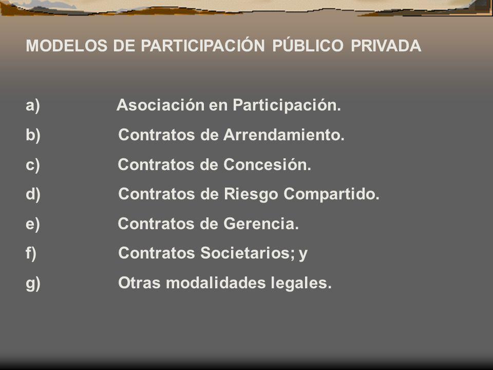 MODELOS DE PARTICIPACIÓN PÚBLICO PRIVADA