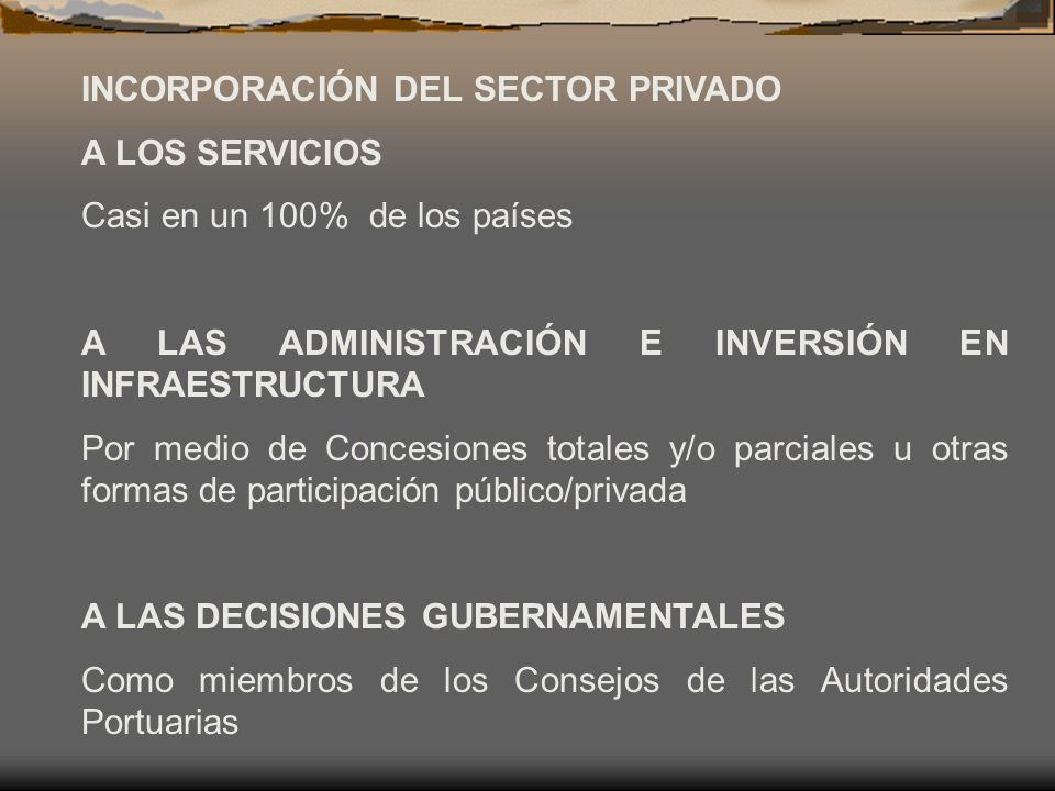 INCORPORACIÓN DEL SECTOR PRIVADO