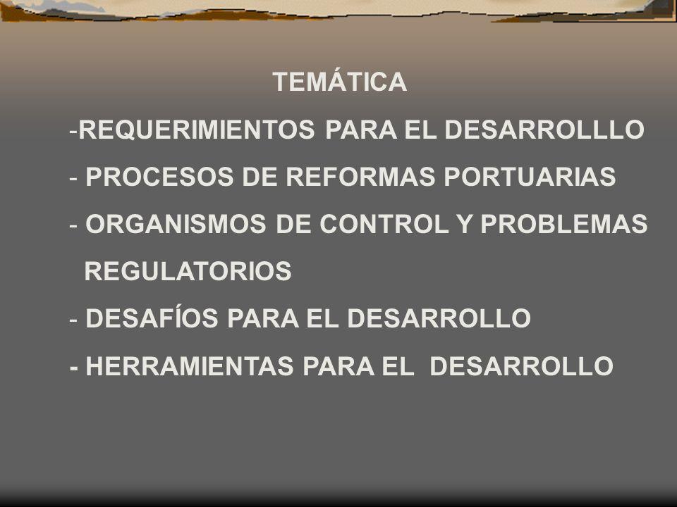 TEMÁTICA REQUERIMIENTOS PARA EL DESARROLLLO. PROCESOS DE REFORMAS PORTUARIAS. ORGANISMOS DE CONTROL Y PROBLEMAS.