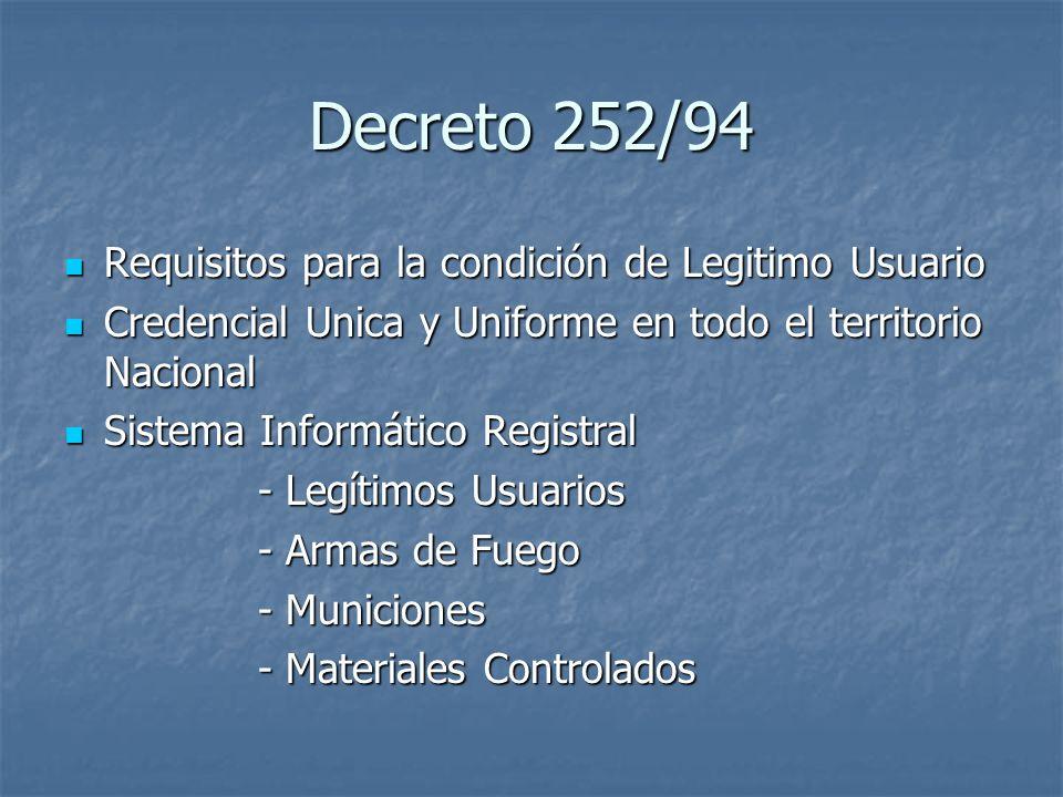 Decreto 252/94 Requisitos para la condición de Legitimo Usuario