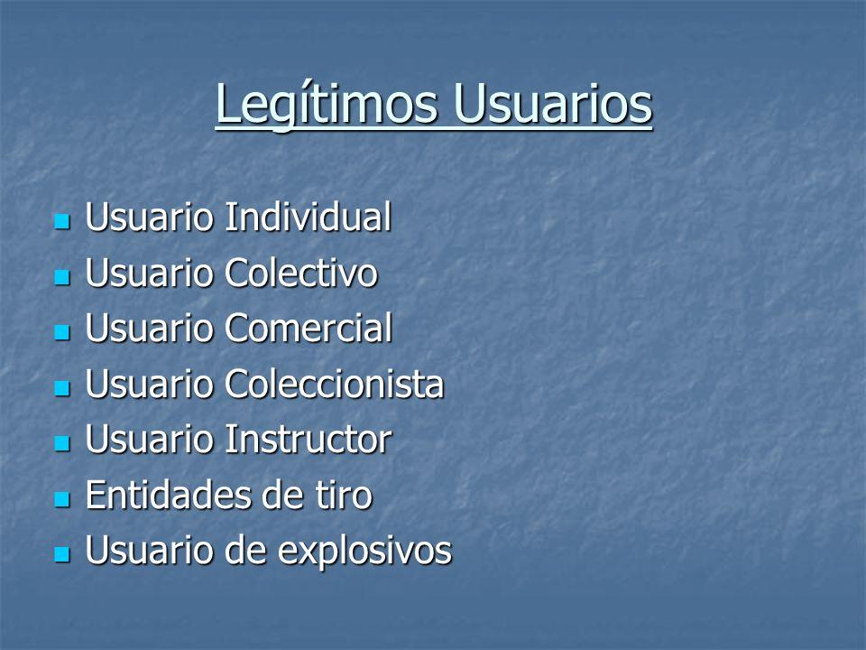 Legítimos Usuarios Usuario Individual Usuario Colectivo