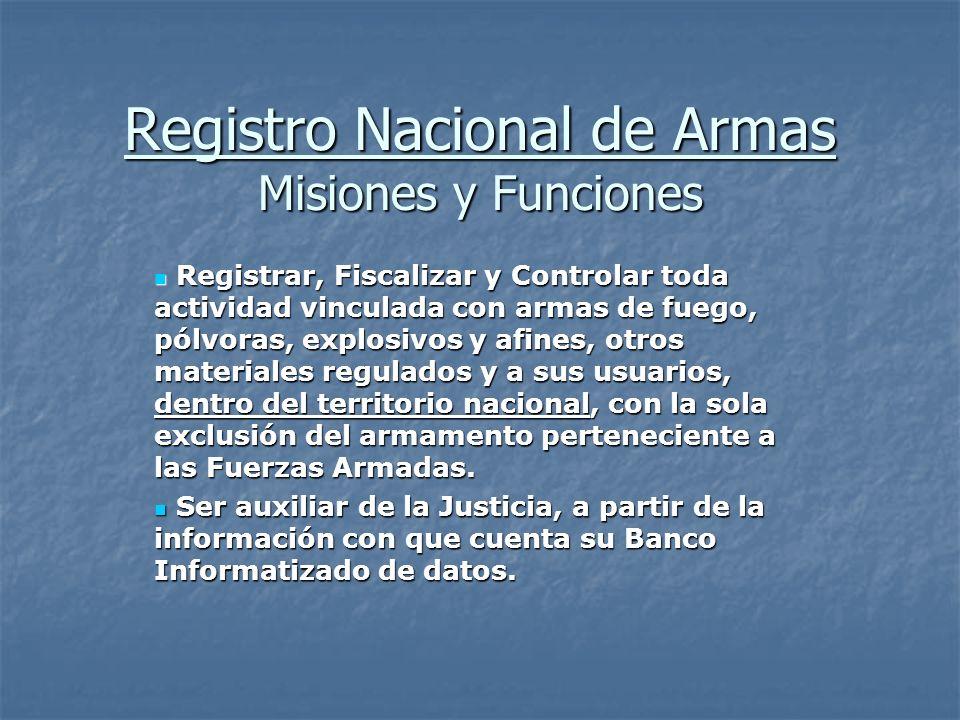 Registro Nacional de Armas Misiones y Funciones