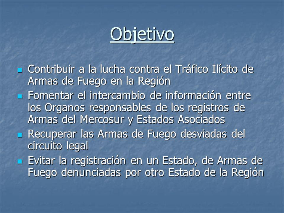 Objetivo Contribuir a la lucha contra el Tráfico Ilícito de Armas de Fuego en la Región.