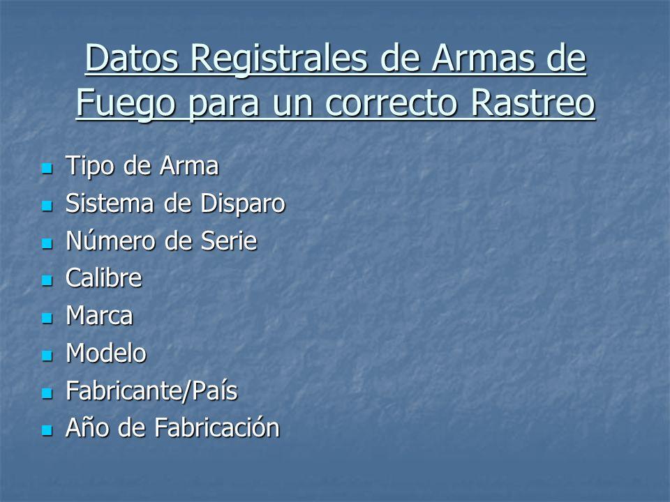 Datos Registrales de Armas de Fuego para un correcto Rastreo