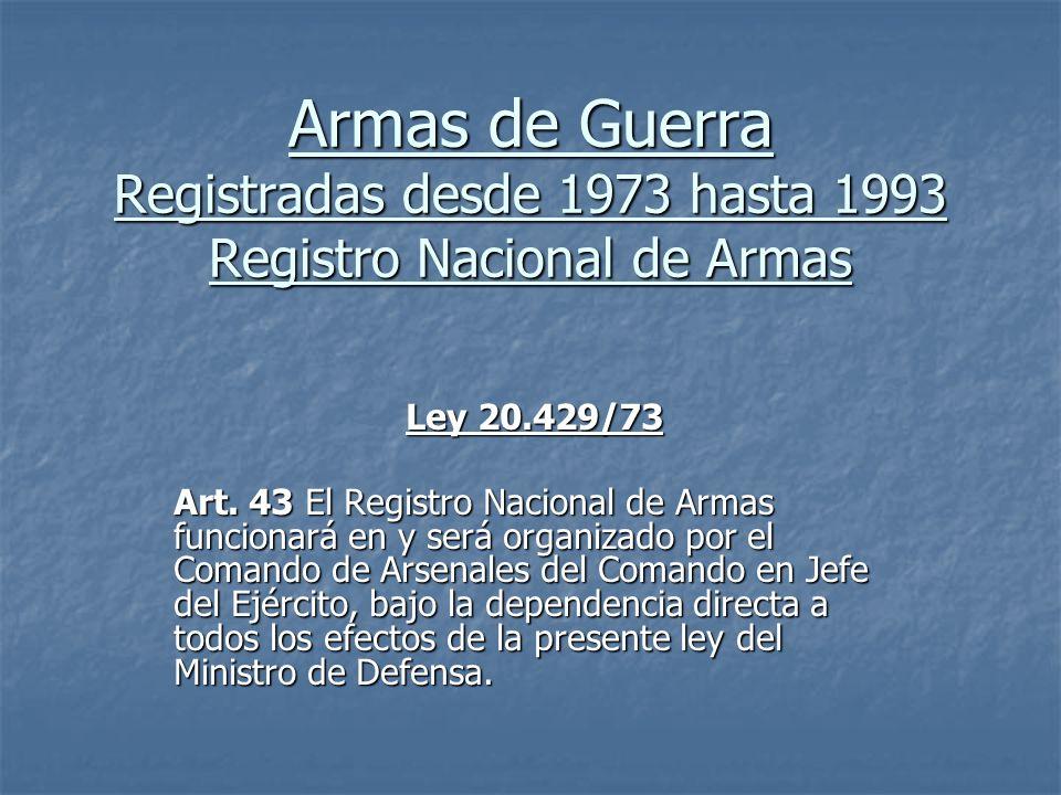 Armas de Guerra Registradas desde 1973 hasta 1993 Registro Nacional de Armas