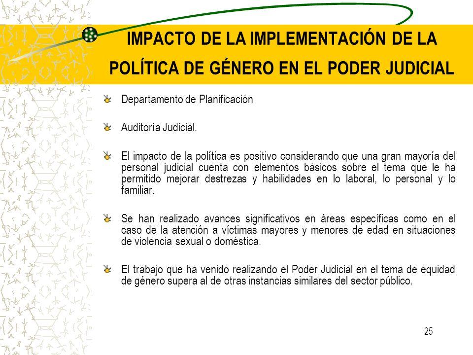 IMPACTO DE LA IMPLEMENTACIÓN DE LA POLÍTICA DE GÉNERO EN EL PODER JUDICIAL