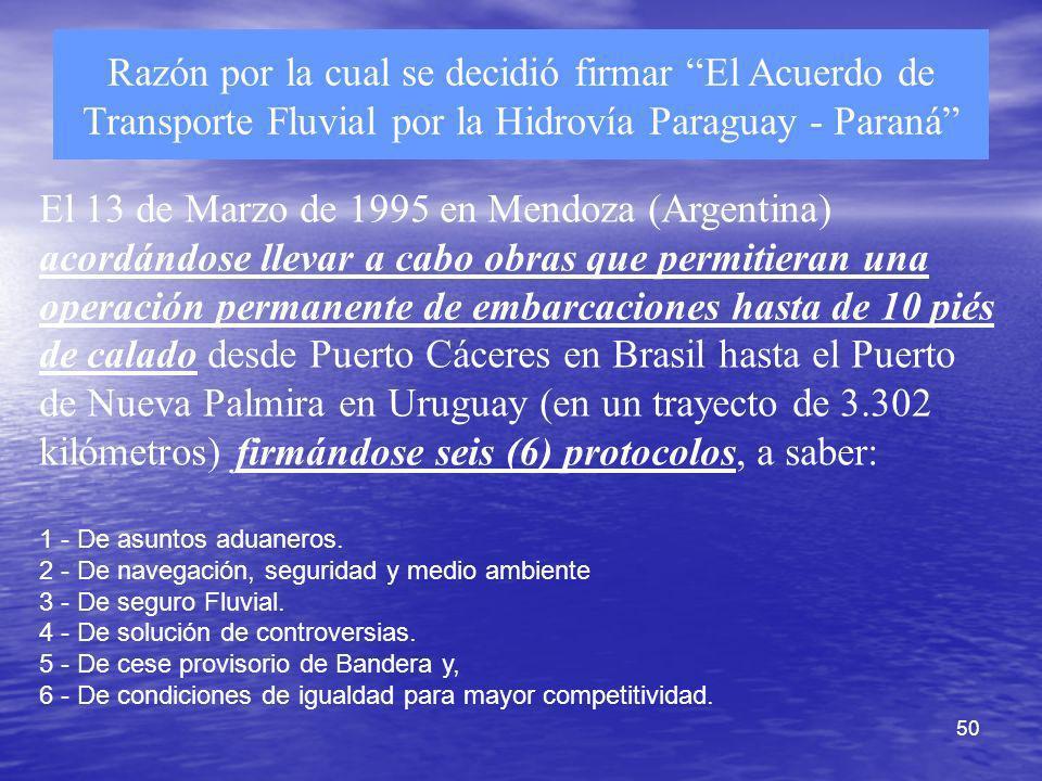 Razón por la cual se decidió firmar El Acuerdo de Transporte Fluvial por la Hidrovía Paraguay - Paraná
