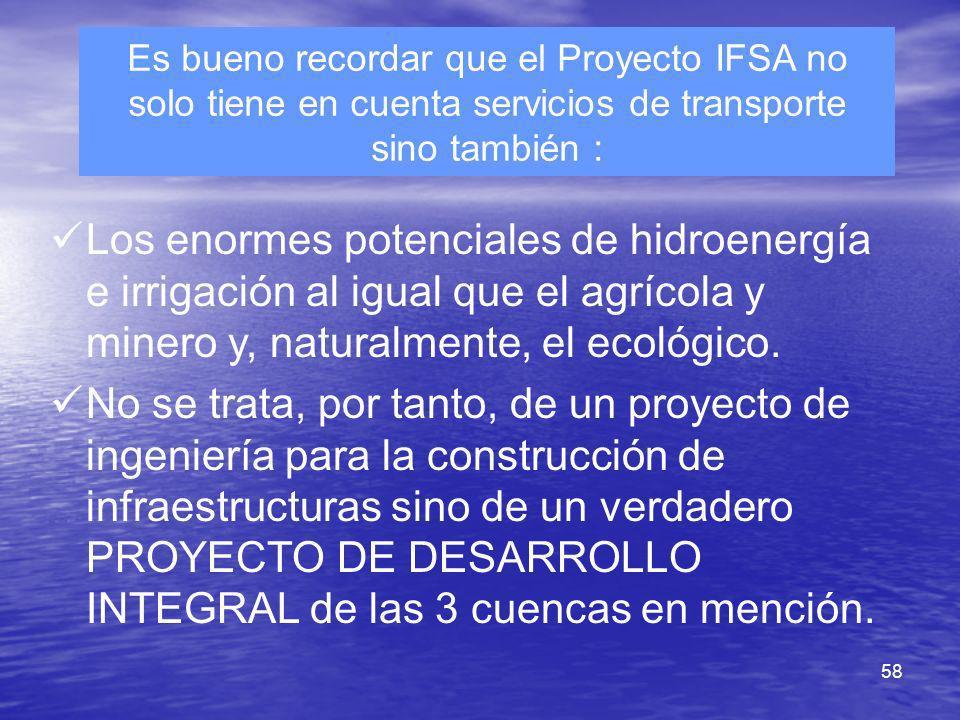 Es bueno recordar que el Proyecto IFSA no solo tiene en cuenta servicios de transporte sino también :