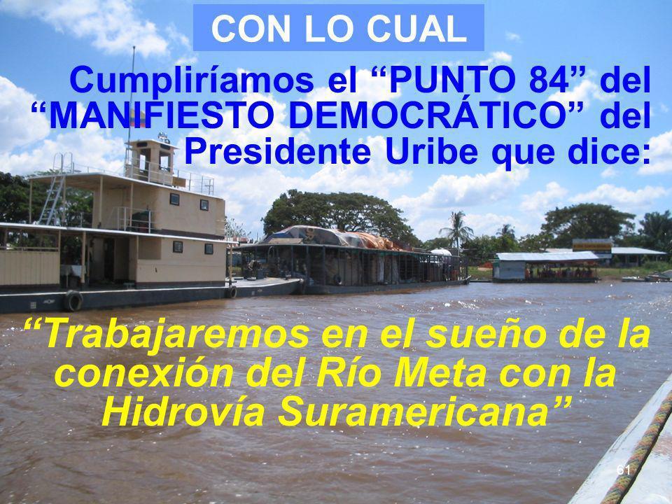 CON LO CUAL Cumpliríamos el PUNTO 84 del MANIFIESTO DEMOCRÁTICO del Presidente Uribe que dice: