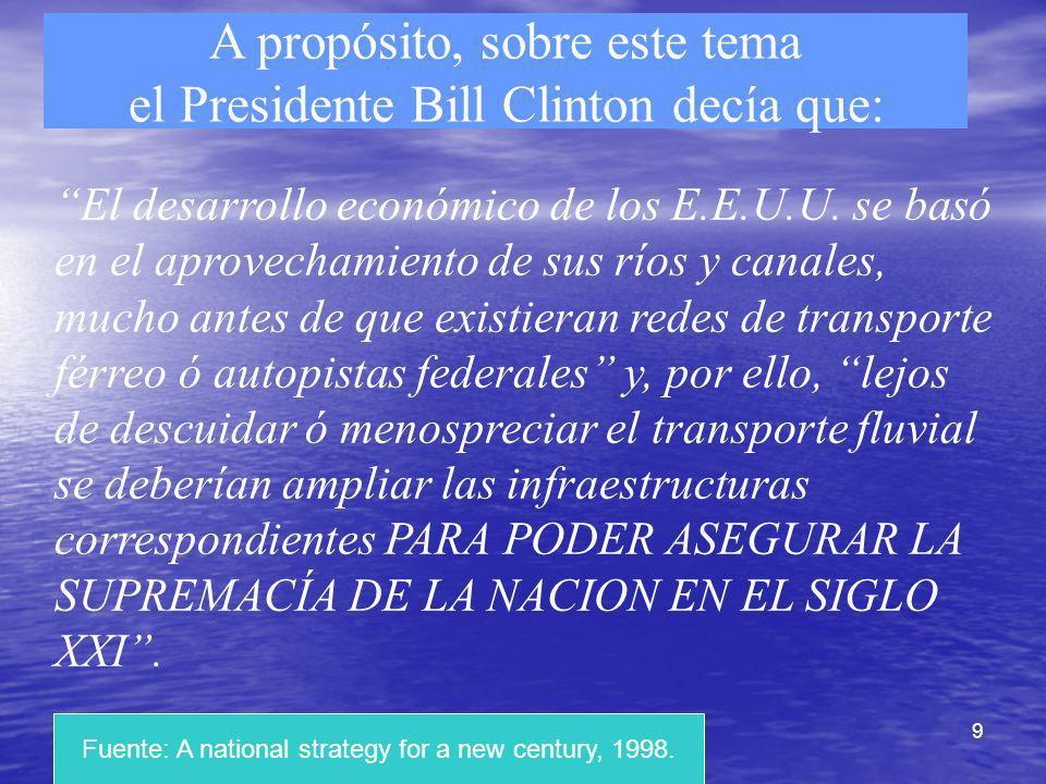 A propósito, sobre este tema el Presidente Bill Clinton decía que: