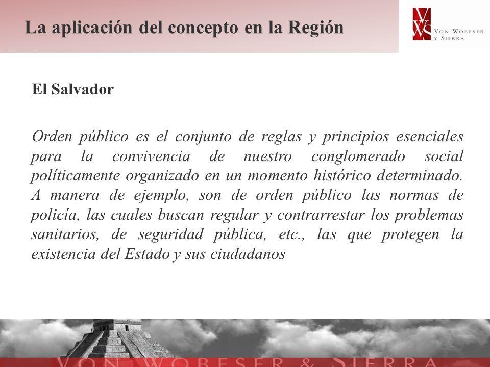 La aplicación del concepto en la Región