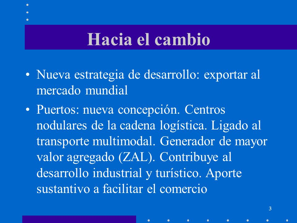 Hacia el cambio Nueva estrategia de desarrollo: exportar al mercado mundial.
