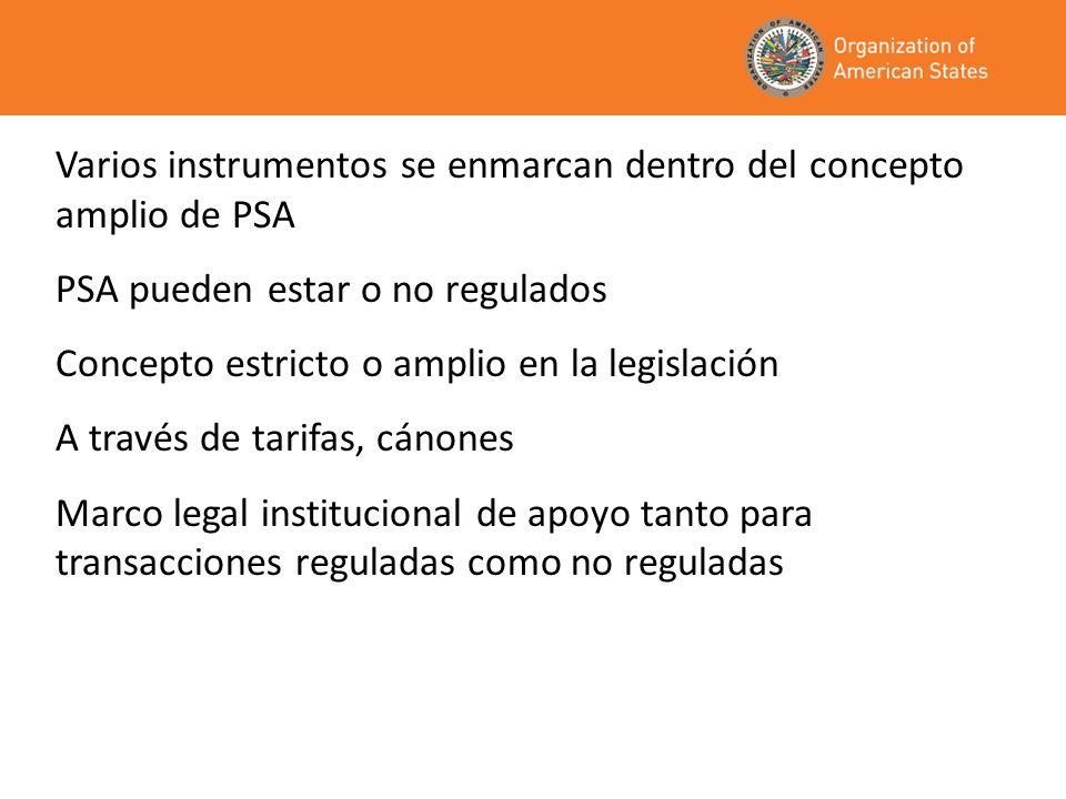 Varios instrumentos se enmarcan dentro del concepto amplio de PSA